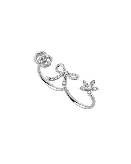 Gucci 18k White Gold Diamond Flora Multi-Finger Ring, Size 7