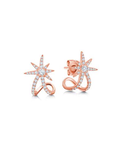 18k Rose Gold Diamond Starburst Ear Cuffs