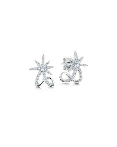 18k White Gold Diamond Starburst Ear Cuffs