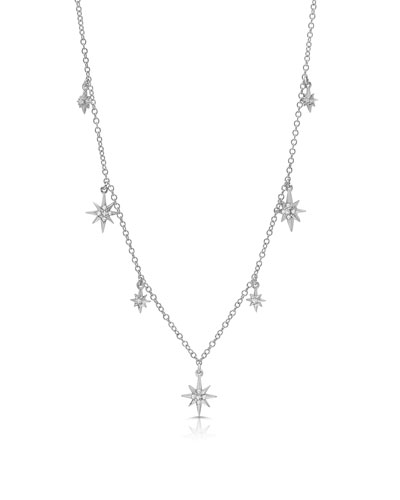 18k White Gold Diamond Starburst Shaker Necklace