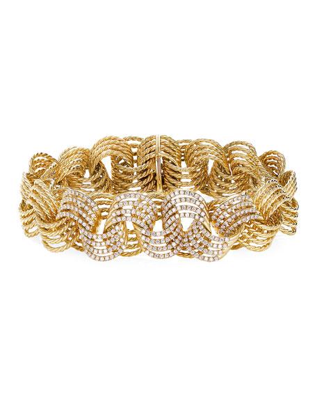 David Yurman Origami 18k Micro Cable Bracelet w/ Diamonds, Size M