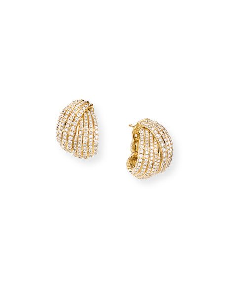 David Yurman Origami 18k Crossover Shrimp Earrings w/ Diamonds