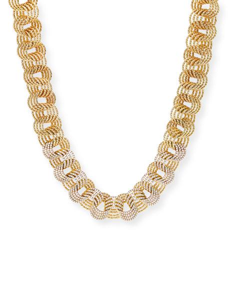 """David Yurman Origami 18k Small-Link Necklace w/ Diamonds, 17""""L"""