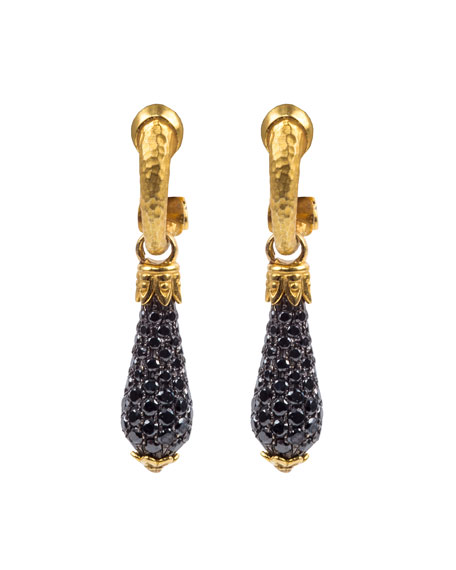 Konstantino 18k Black Diamond Pave Drop Earrings