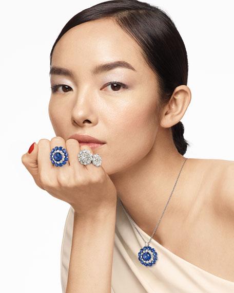 Chopard 18k White Gold Sapphire Magical Setting Ring w/ Diamonds, Size 52