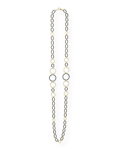 "LAGOS Gold & Black Caviar 2-Station Necklace, 36""L"
