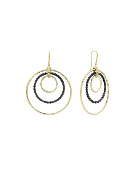 LAGOS 18k 3-Circle Chandelier Earrings w/ Black Ceramic, 80mm