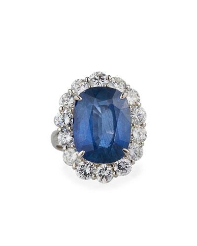 Platinum Blue Sapphire Diamond-Trim Ring  Size 6.25