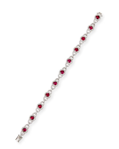 18k White Gold 11-Ruby Diamond Bracelet