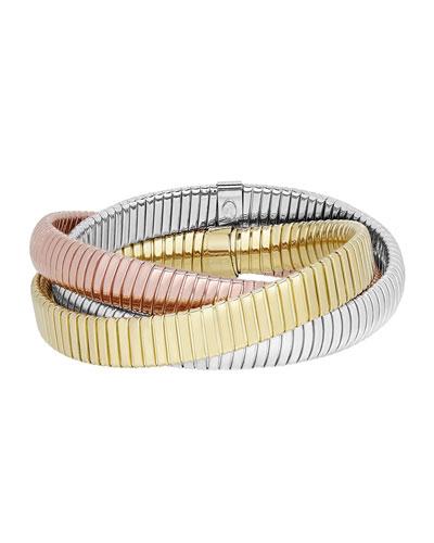 18k Tricolor Triple Tubogas Wrap Bracelet