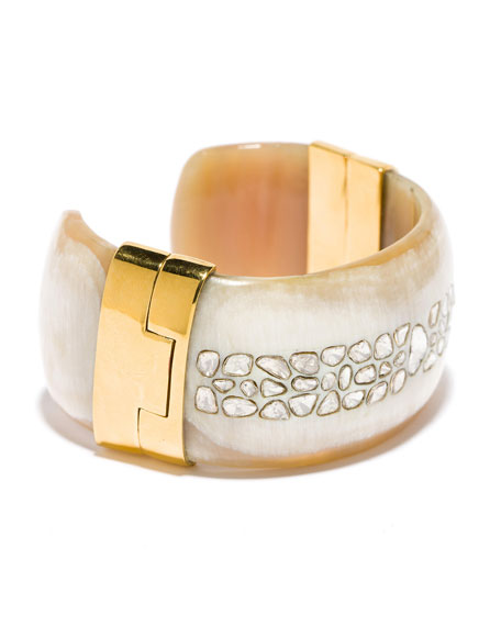 Ashley Pittman Quinn White Diamond Light Horn Cuff