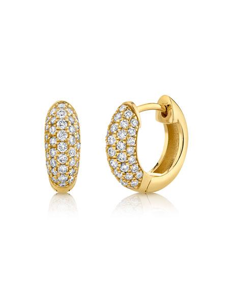 Sydney Evan 14k Puffy Diamond Huggie Hoop Earrings