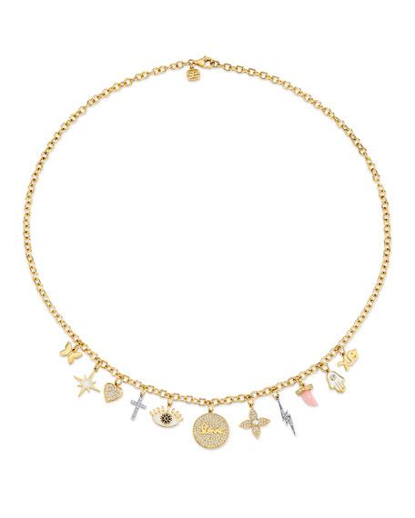 Sydney Evan 14k Two-Tone Diamond Charm Necklace