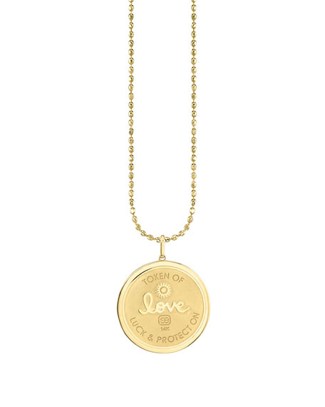 Sydney Evan 14k Diamond Evil Eye Luck Coin Pendant Necklace