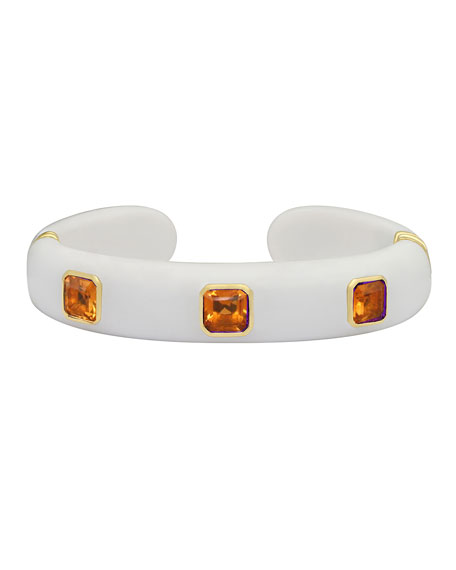 Margot McKinney Jewelry Weekend 18k White Agate & Citrine Cuff