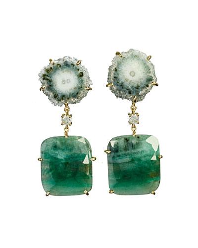 18k Bespoke 2-Tier Tribal Luxury Earrings w/ Green Stalactite, Faceted Emeralds & Diamonds