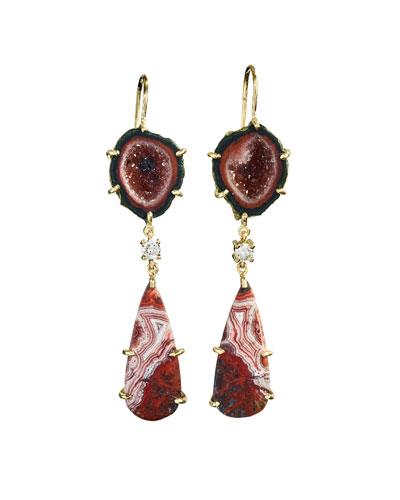 18k Bespoke 2-Tier Tribal Luxury Earrings w/ Black Druzy, Crazy Lace Agate & Diamonds