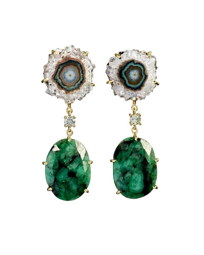 18k Bespoke 2-Tier Tribal Luxury Earrings w/ Purple Stalactite, Faceted Emeralds & Diamonds