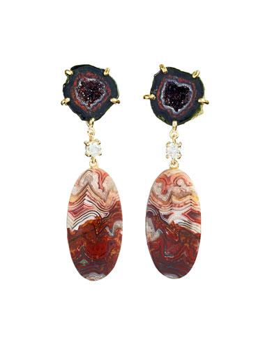 18k Bespoke 2-Tier Tribal Luxury Earrings w/ Black Cherry Tabasco Geode with Agate Druzy