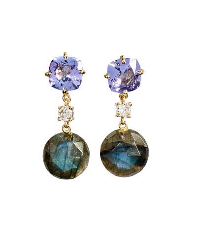 18k Bespoke 2-Tier Tribal Luxury Earrings w/ Lavender Amethyst, Faceted Labradorite & Diamonds