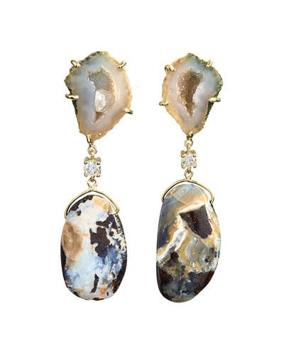 18k Bespoke 2-Tier Tribal Luxury Earrings w/ Tan Tabasco Geode, Natural Boulder Opal & Diamonds