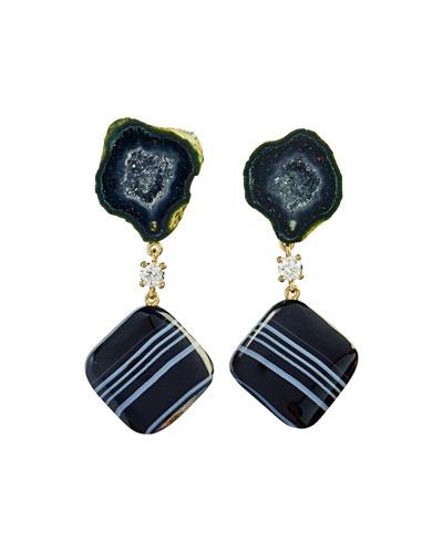 18k Bespoke 2-Tier Tribal Luxury Earrings w/ Black Tabasco Geode w/ Agate Druzy, Tuxedo Agate & Diamonds
