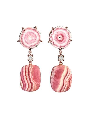 18k Bespoke 2-Tier Tribal Luxury Earrings w/ Pink Stalactite, Rhodochrosite & Diamonds