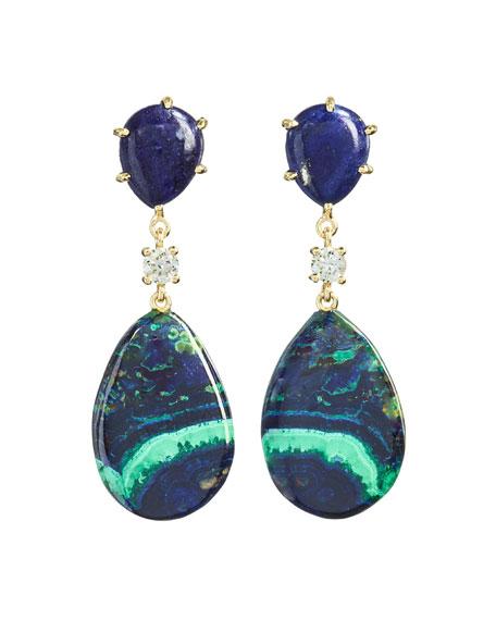 Jan Leslie 18k Bespoke 2-Tier Tribal Luxury Earrings w/ Lapis, Azurite Malachite & Diamonds