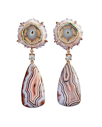 18k Bespoke 2-Tier Tribal Luxury Earrings w/ Stalactite, Purple Passion & Diamonds