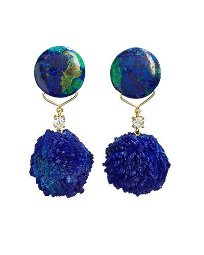 18k Bespoke 2-Tier Tribal Luxury Earrings w/ Azurite Malachite, Azurite Druzy & Diamonds