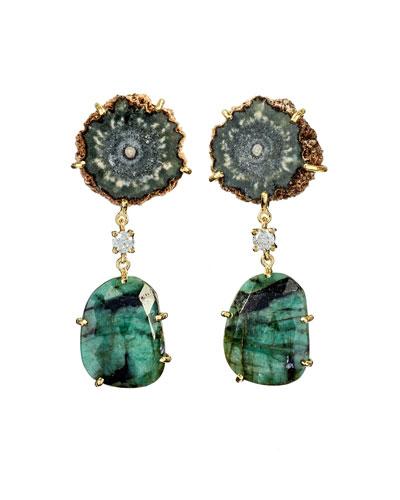 18k Bespoke 2-Tier Tribal Luxury Earrings w/ Brown Stalactite, Faceted Emerald & Diamonds