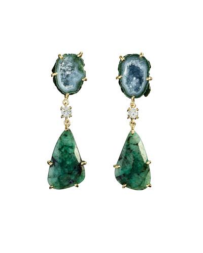 18k Bespoke 2-Tier Tribal Luxury Earrings w/ Green Geode, Faceted Emerald & Diamonds