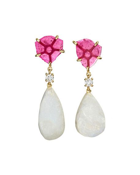 Jan Leslie 18k Bespoke 2-Tier Tribal Luxury Earrings w/ Pink Tourmaline, Rainbow Moonstones & Diamonds