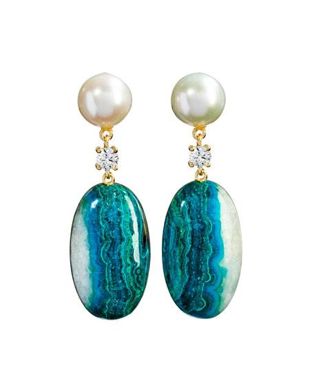 Jan Leslie 18k Bespoke 2-Tier Tribal Luxury Earrings w/ Pearl, Chrysocolla Quartz Malachite & Diamonds