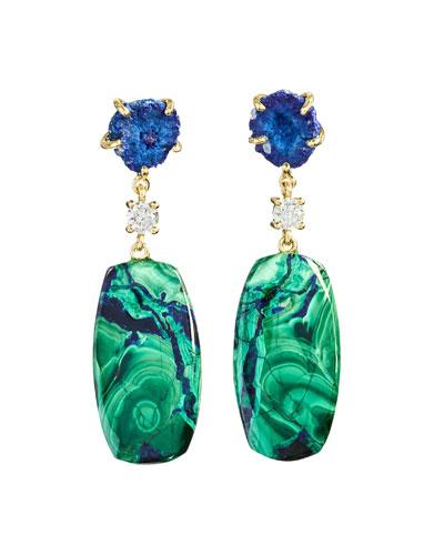 18k Bespoke 2-Tier Tribal Luxury Earrings w/ Azurite Geode, Azurite Malachite & Diamonds