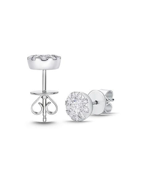 Memoire 18k White Gold Diamond Bouquet Stud Earrings, 1.34tcw