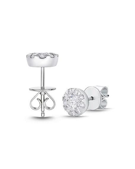 Memoire 18k White Gold Diamond Bouquet Stud Earrings, 0.65tcw