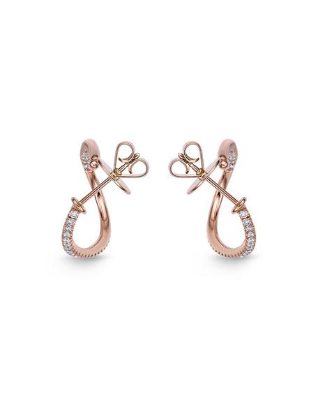 Memoire 18k Rose Gold Diamond Oval-Twist Hoop Earrings