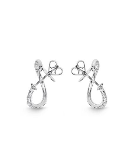 Memoire 18k White Gold Diamond J-Twist Hoop Earrings