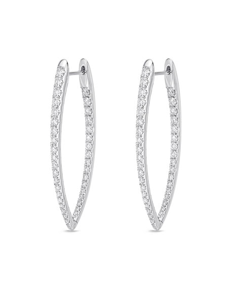 Memoire 18k White Gold Diamond Imperial Hoop Earrings