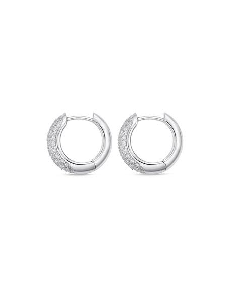 Memoire 18k White Gold 5-Row Diamond Huggie Hoop Earrings