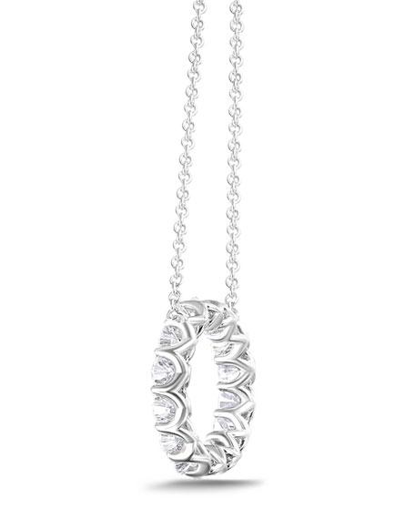 Memoire 18k White Gold Diamond Circle Necklace