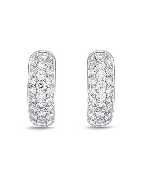 Memoire 18k White Gold 3-Row Diamond Huggie Hoop Earrings