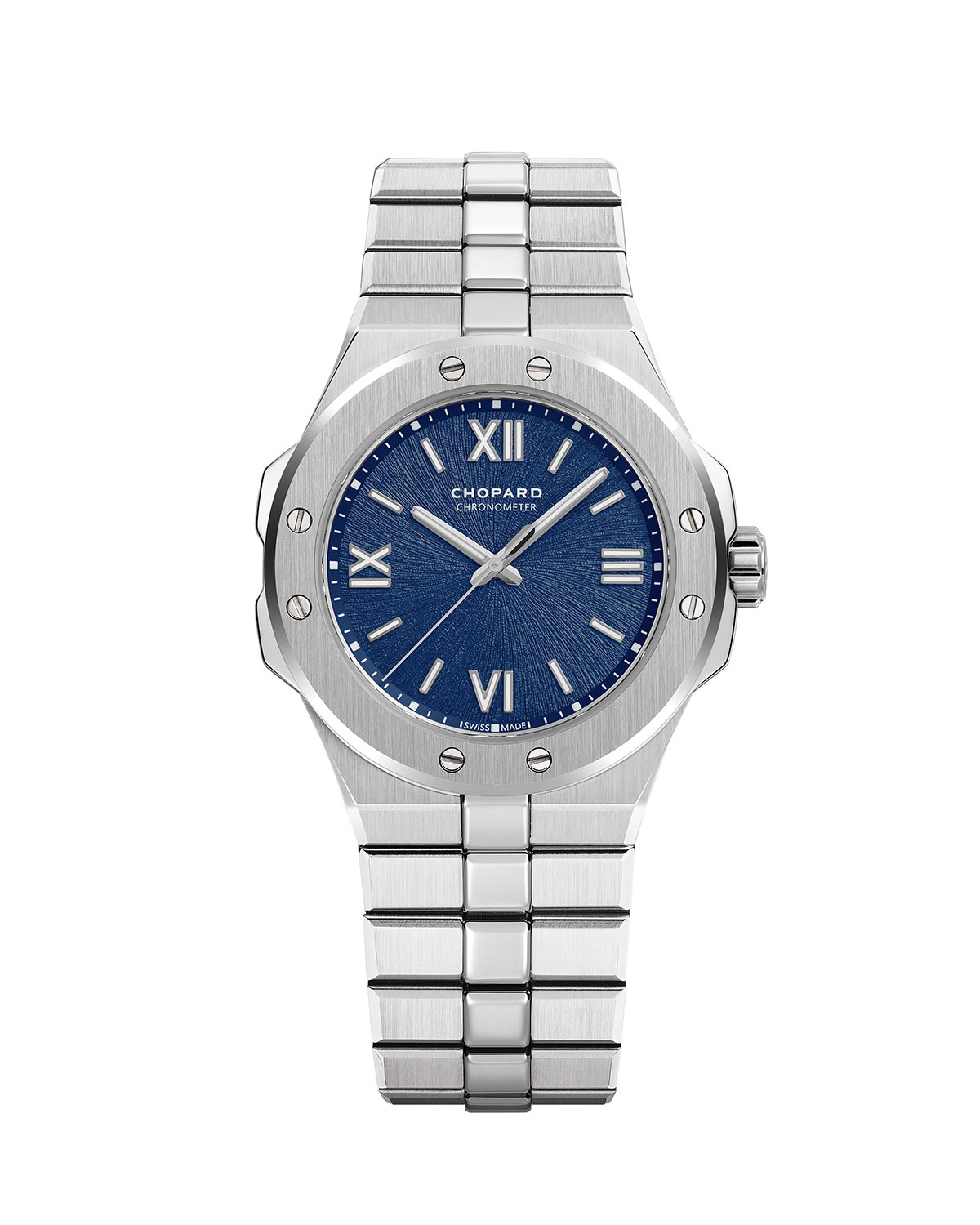 Chopard 36mm Stainless Steel Watch w/ Bracelet Strap, Blue