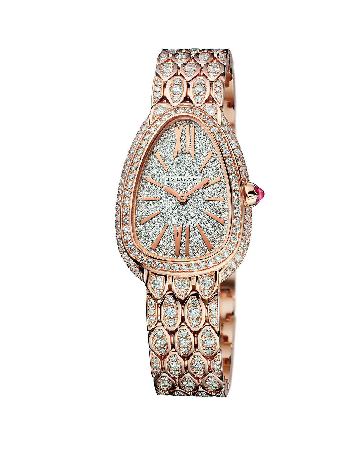 BVLGARI Serpenti Seduttori 33mm Diamond Watch w/ Bracelet, Rose Gold
