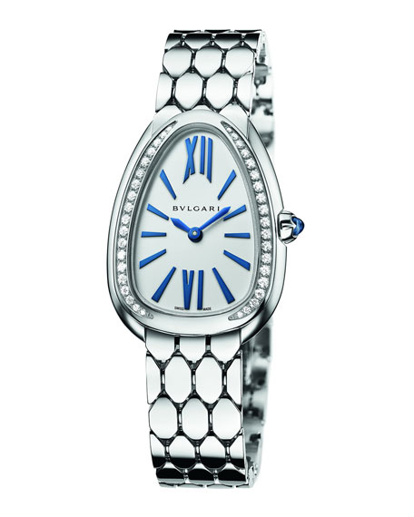 BVLGARI Serpenti Seduttori 33mm Watch w/ Bracelet, White Gold