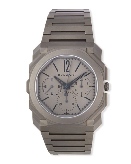 Image 1 of 3: BVLGARI Men's 42mm Octo Finissimo Chronograph Watch in Titanium