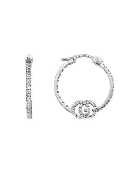 Gucci 18k White Gold GG Running Diamond Hoop Earrings