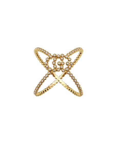Gucci 18k GG Running X All-Diamond Ring, Size 6.75