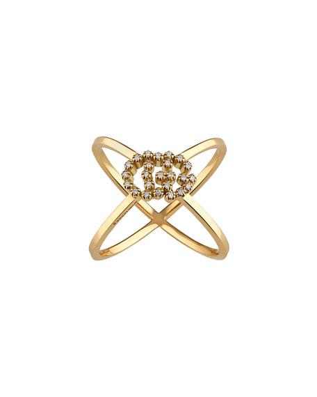Gucci 18k GG Running X Diamond Ring, Size 6.75